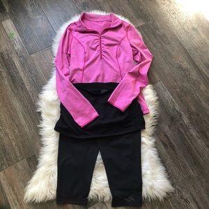 Zella Bundle Pink Half Zip pullover/Capri Skirt M